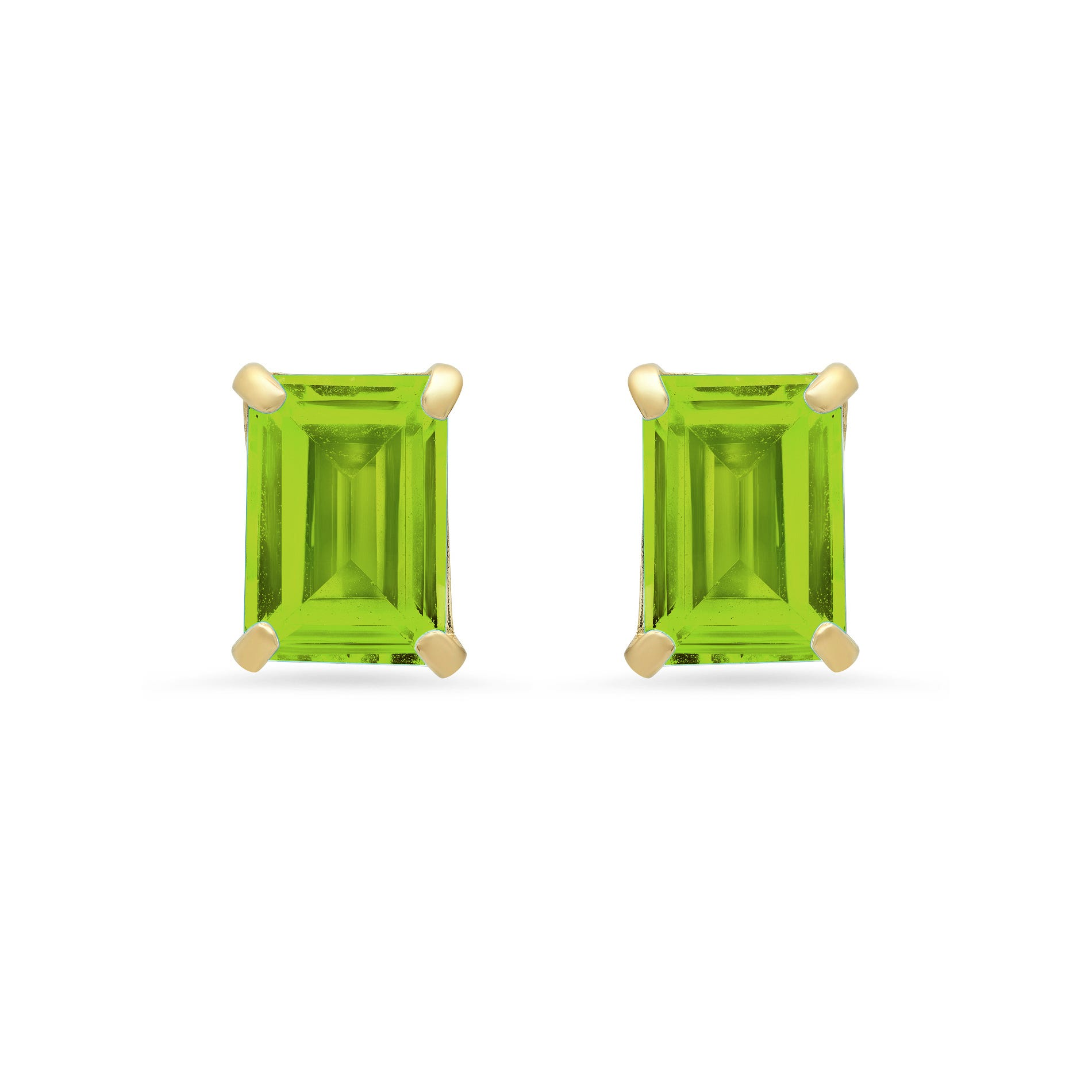 Emerald-Cut Peridot Solitaire Stud Earrings in 14k Yellow Gold