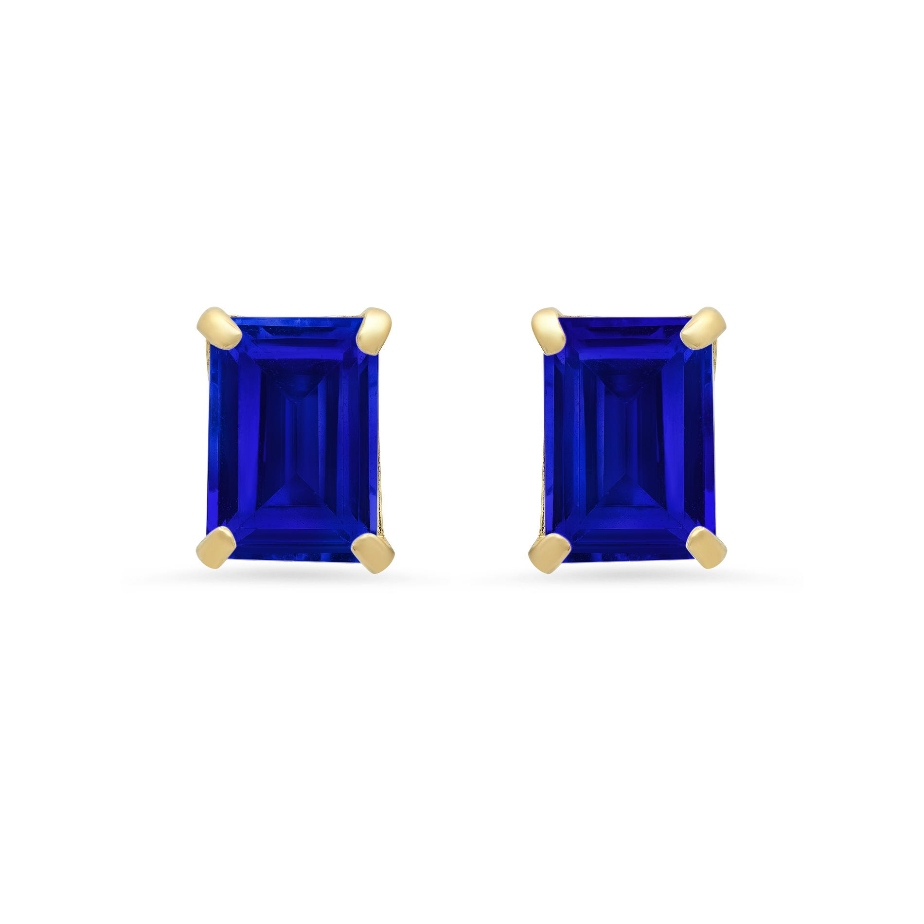 Emerald-Cut Created Blue Sapphire Solitaire Stud Earrings in 14k Yellow Gold