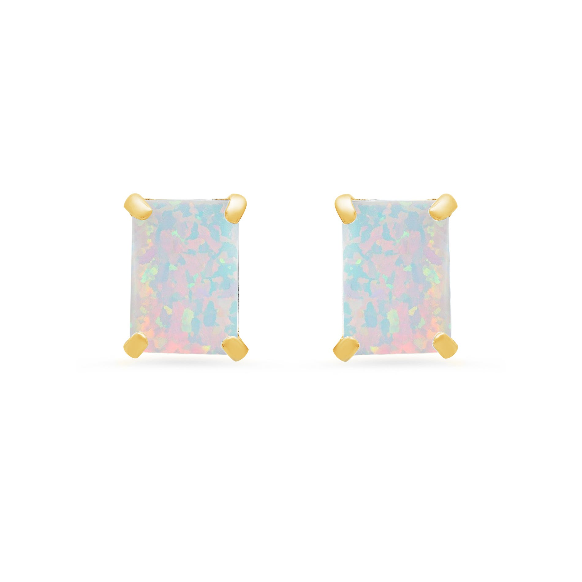 Emerald-Cut Created Opal Solitaire Stud Earrings in 14k Yellow Gold