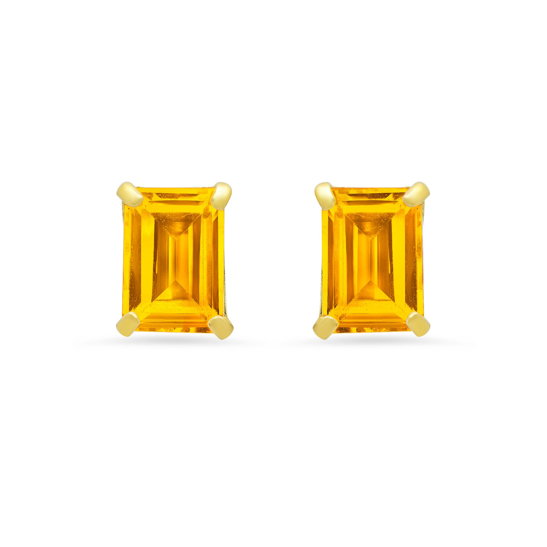 Emerald-Cut Citrine Solitaire Stud Earrings in 14k Yellow Gold