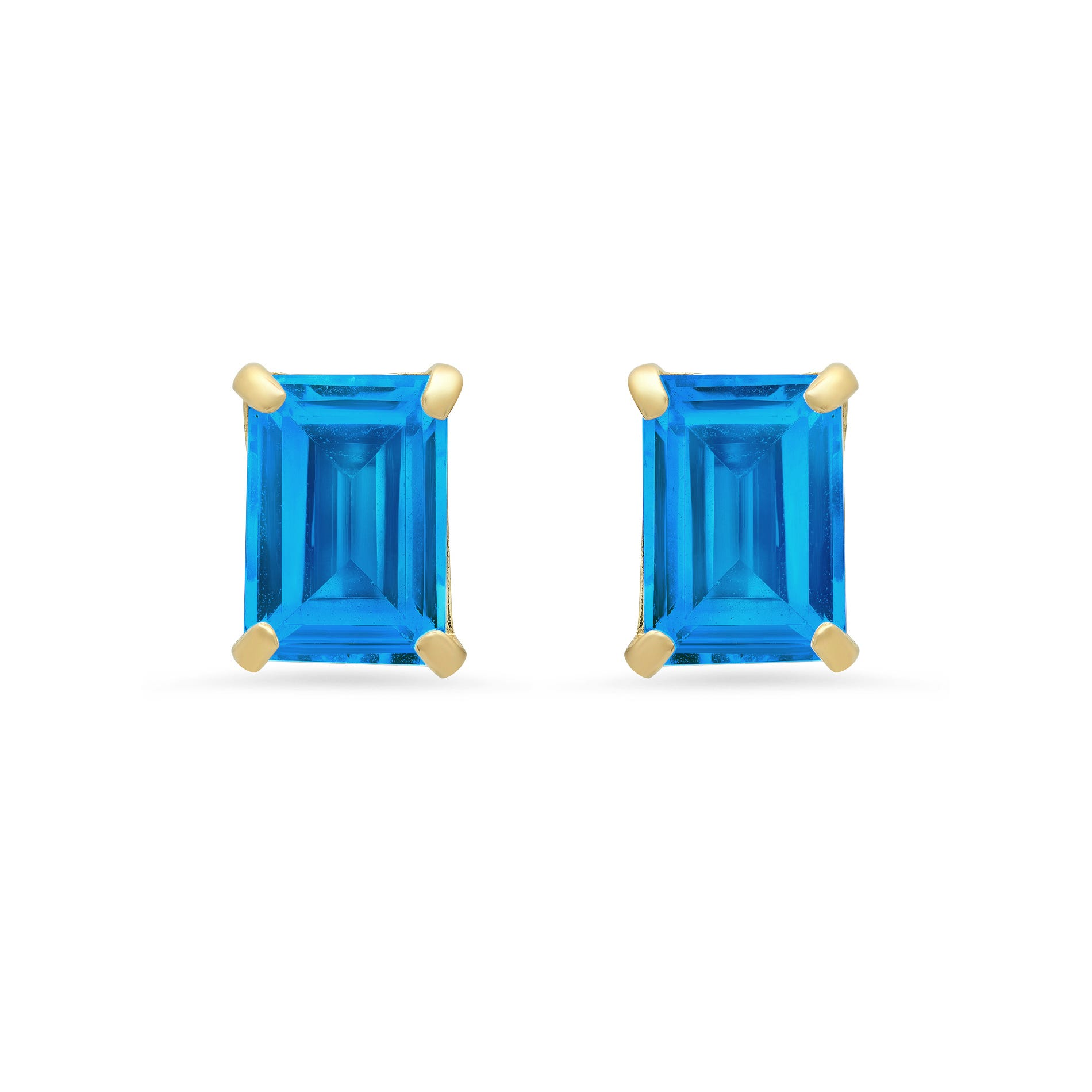 Emerald-Cut Swiss Blue Topaz Solitaire Stud Earrings in 14k Yellow Gold