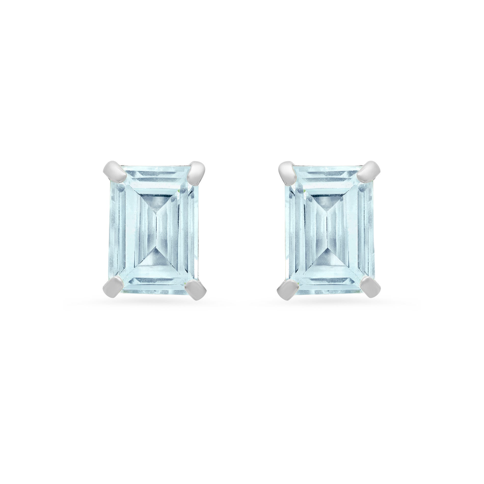 Emerald-Cut Aquamarine Solitaire Stud Earrings in 14k White Gold