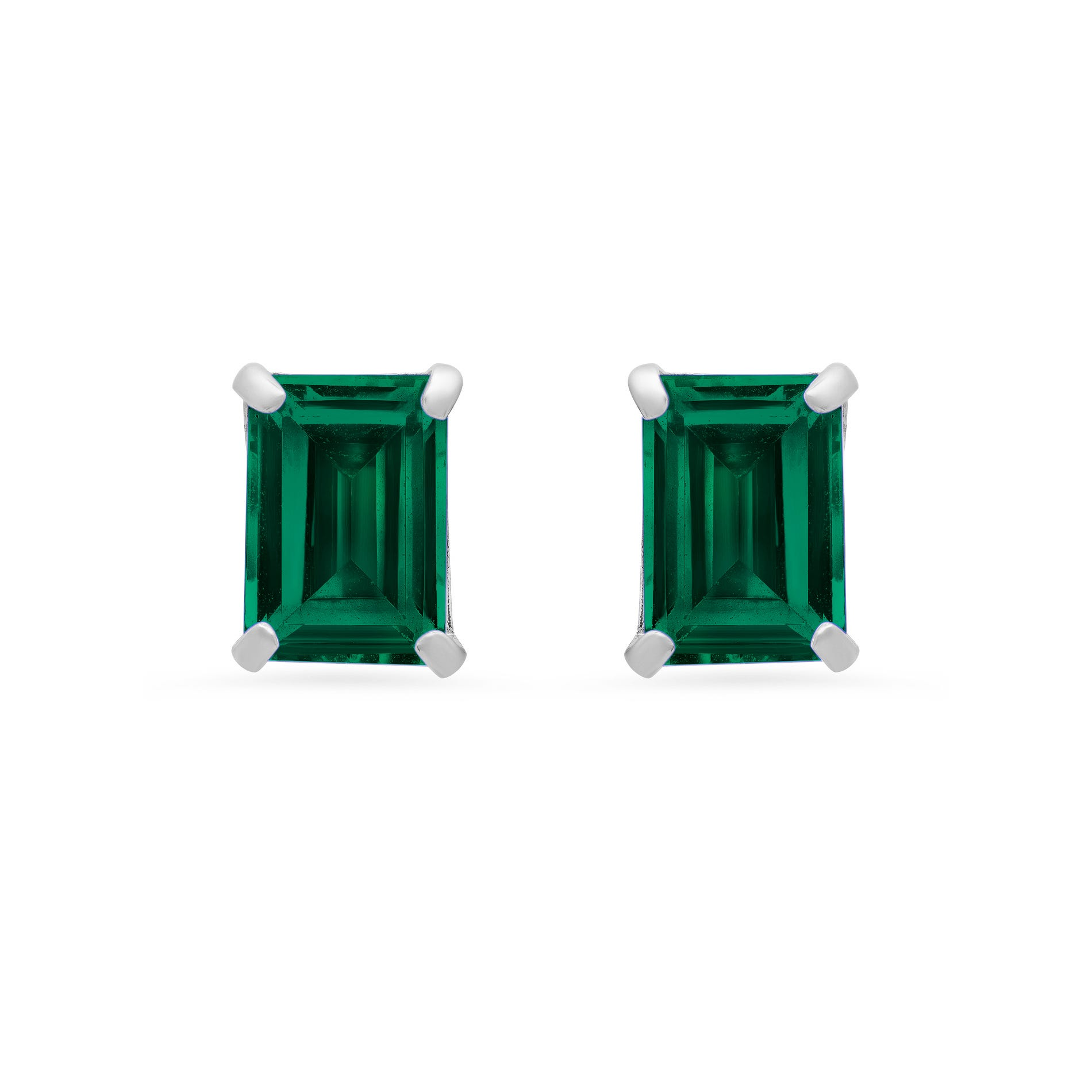Emerald-Cut Created Emerald Solitaire Stud Earrings in 14k White Gold