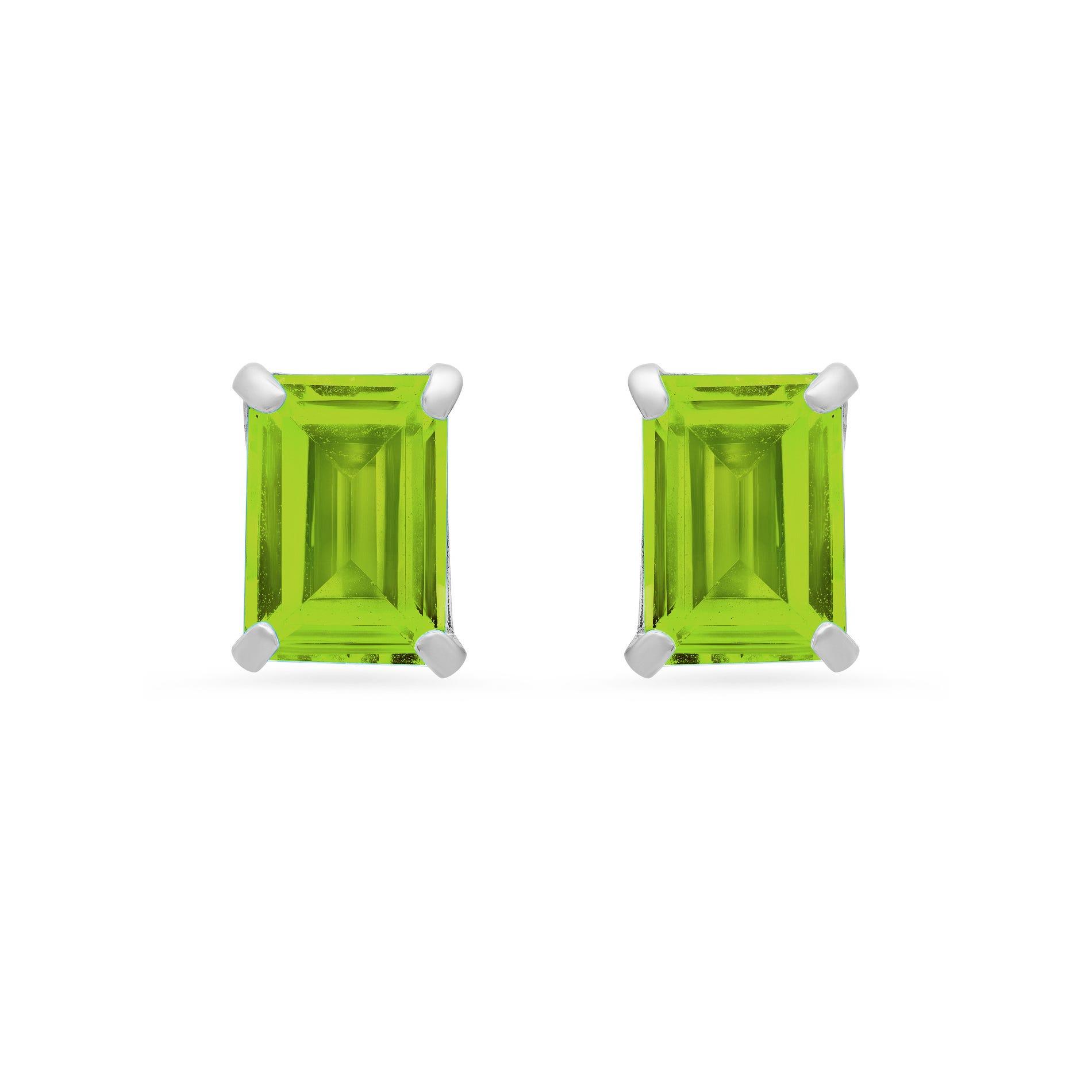 Emerald-Cut Peridot Solitaire Stud Earrings in 14k White Gold