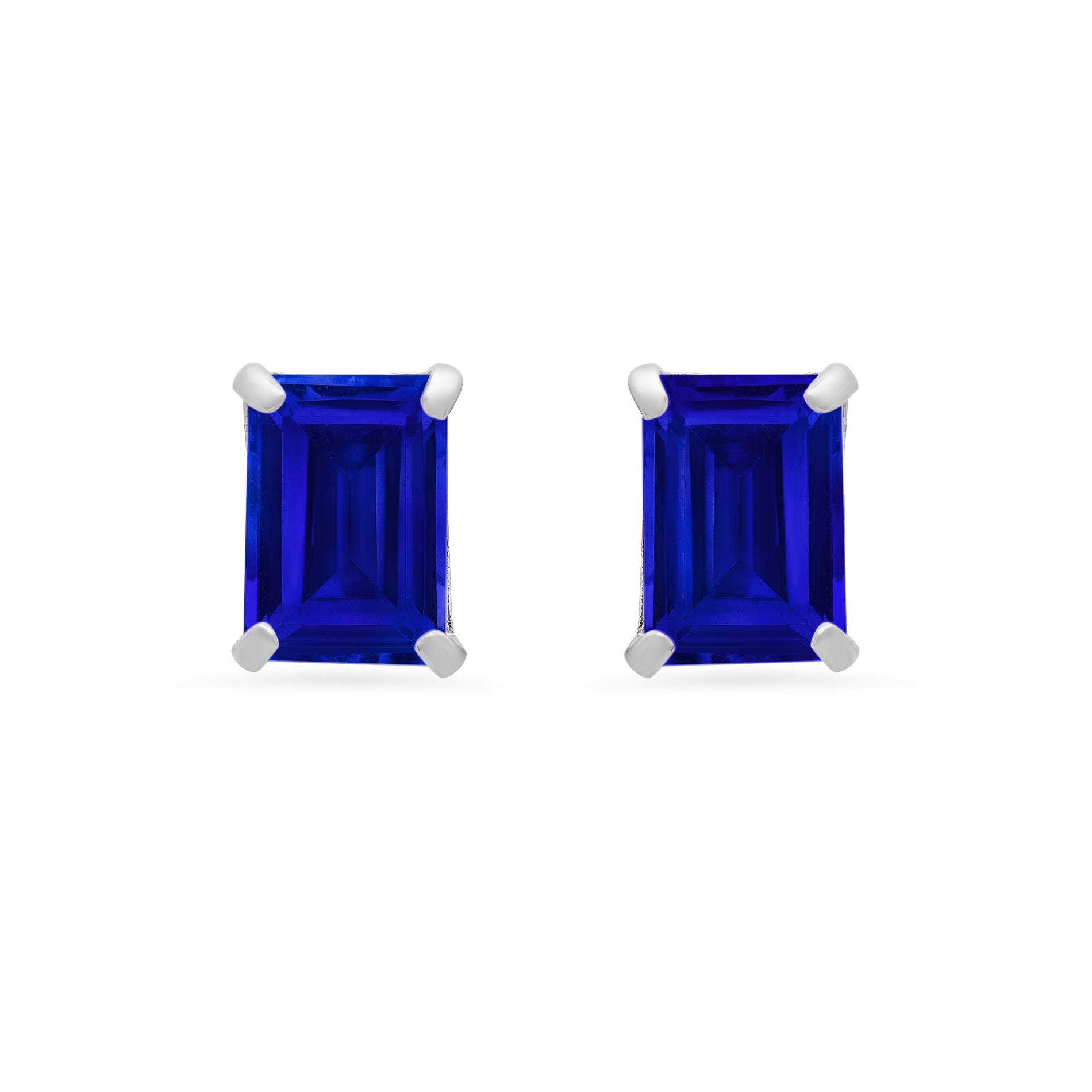 Emerald-Cut Created Blue Sapphire Solitaire Stud Earrings in 14k White Gold