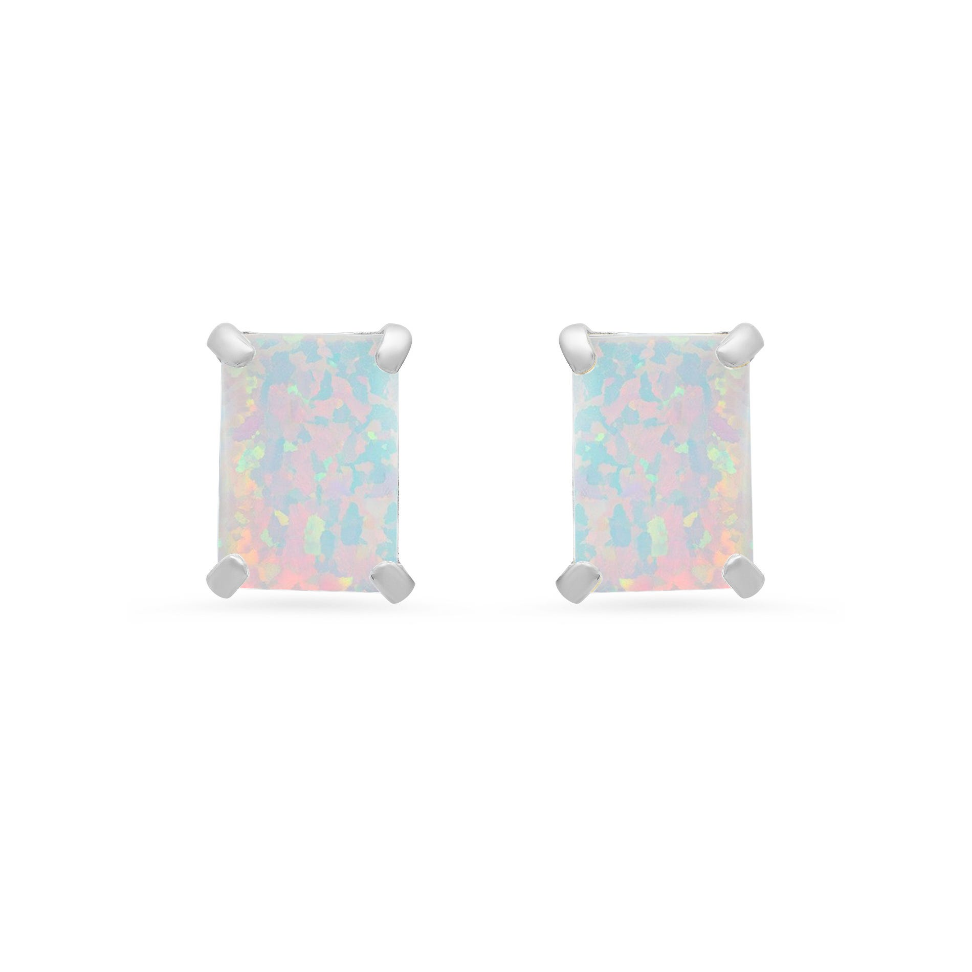 Emerald-Cut Created Opal Solitaire Stud Earrings in 14k White Gold