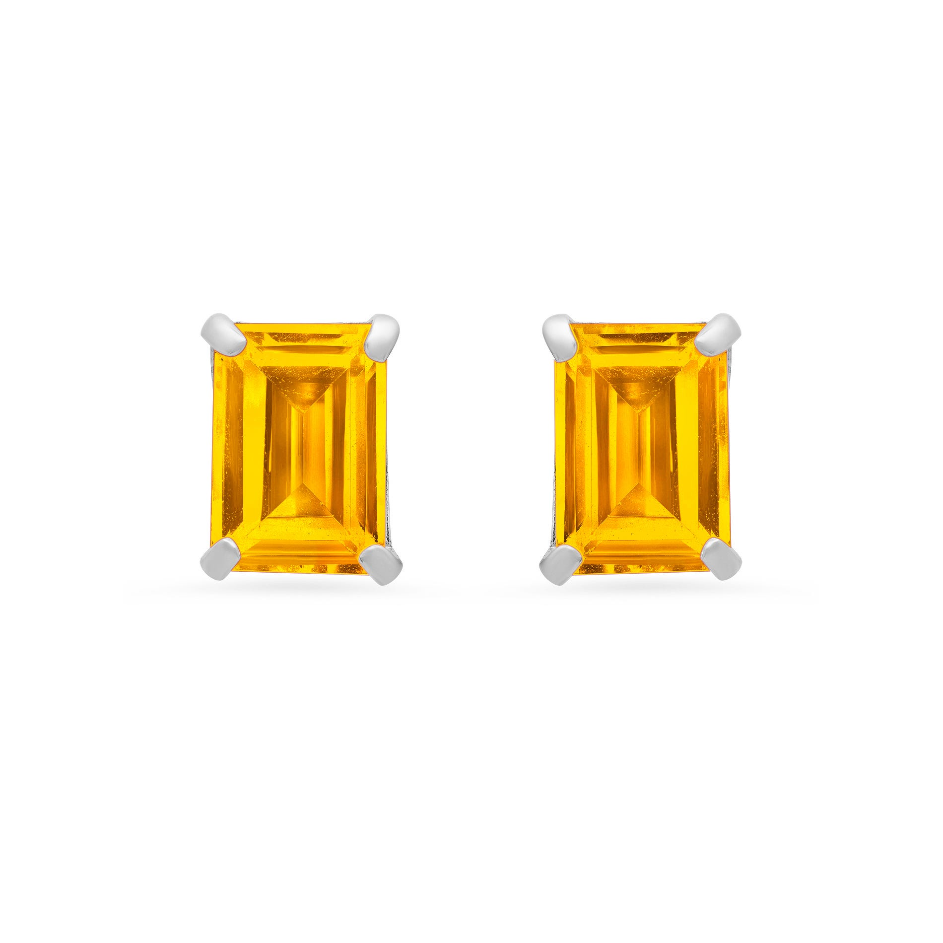 Emerald-Cut Citrine Solitaire Stud Earrings in 14k White Gold