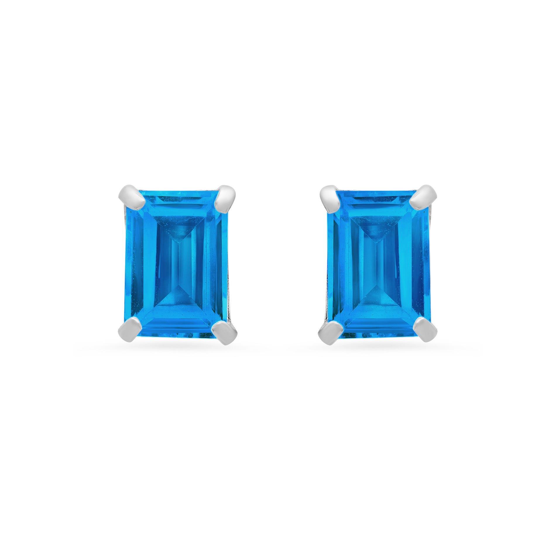 Emerald-Cut Swiss Blue Topaz Solitaire Stud Earrings in 14k White Gold