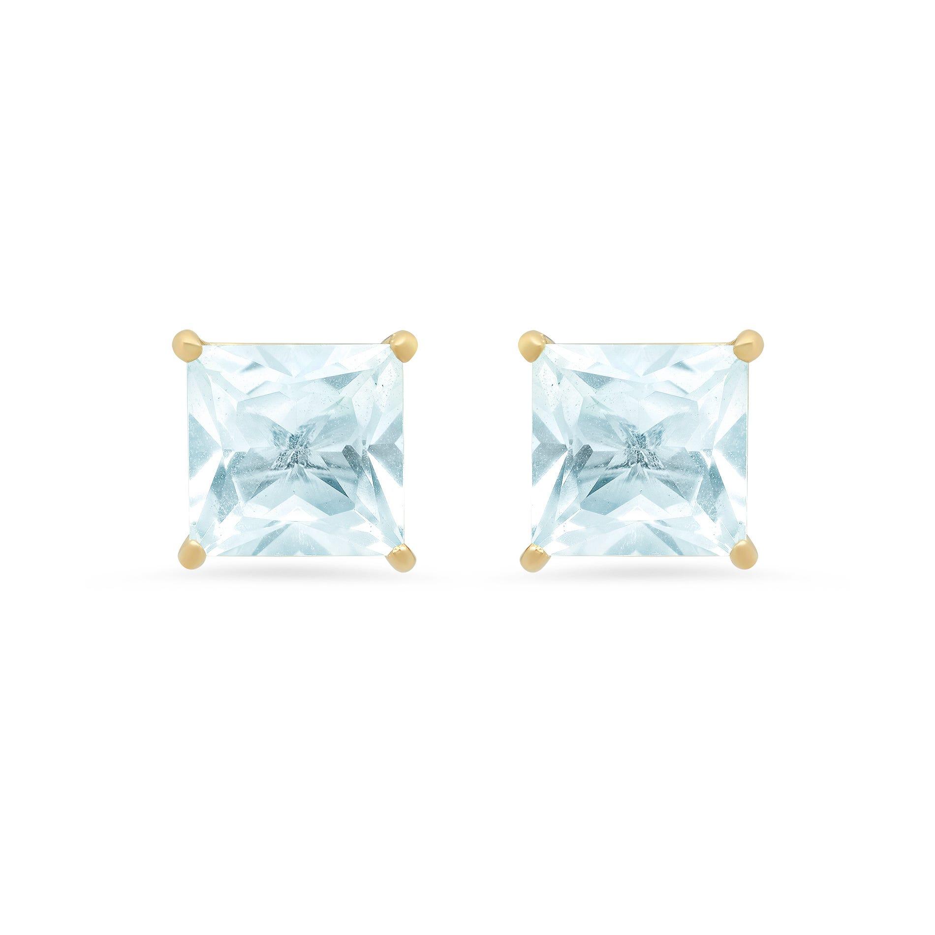 Princess-Cut Aquamarine Solitaire Stud Earrings in 14k Yellow Gold