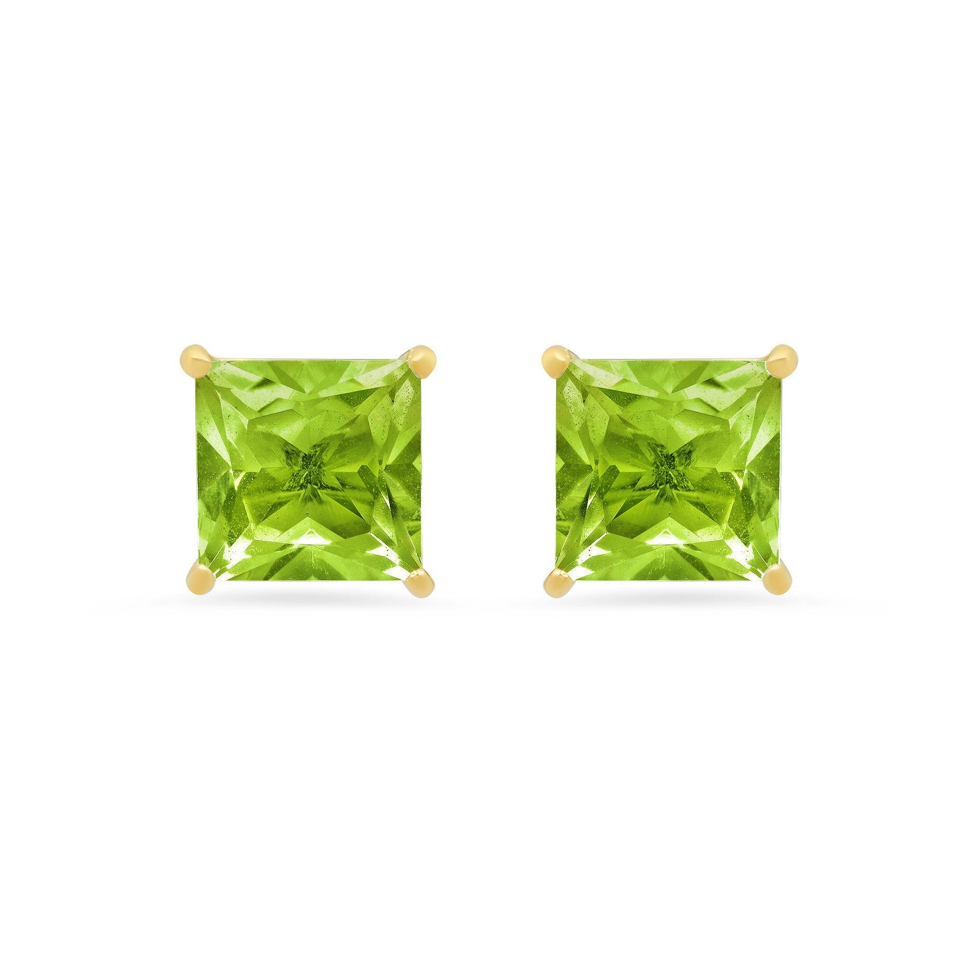 Princess-Cut Peridot Solitaire Stud Earrings in 14k Yellow Gold