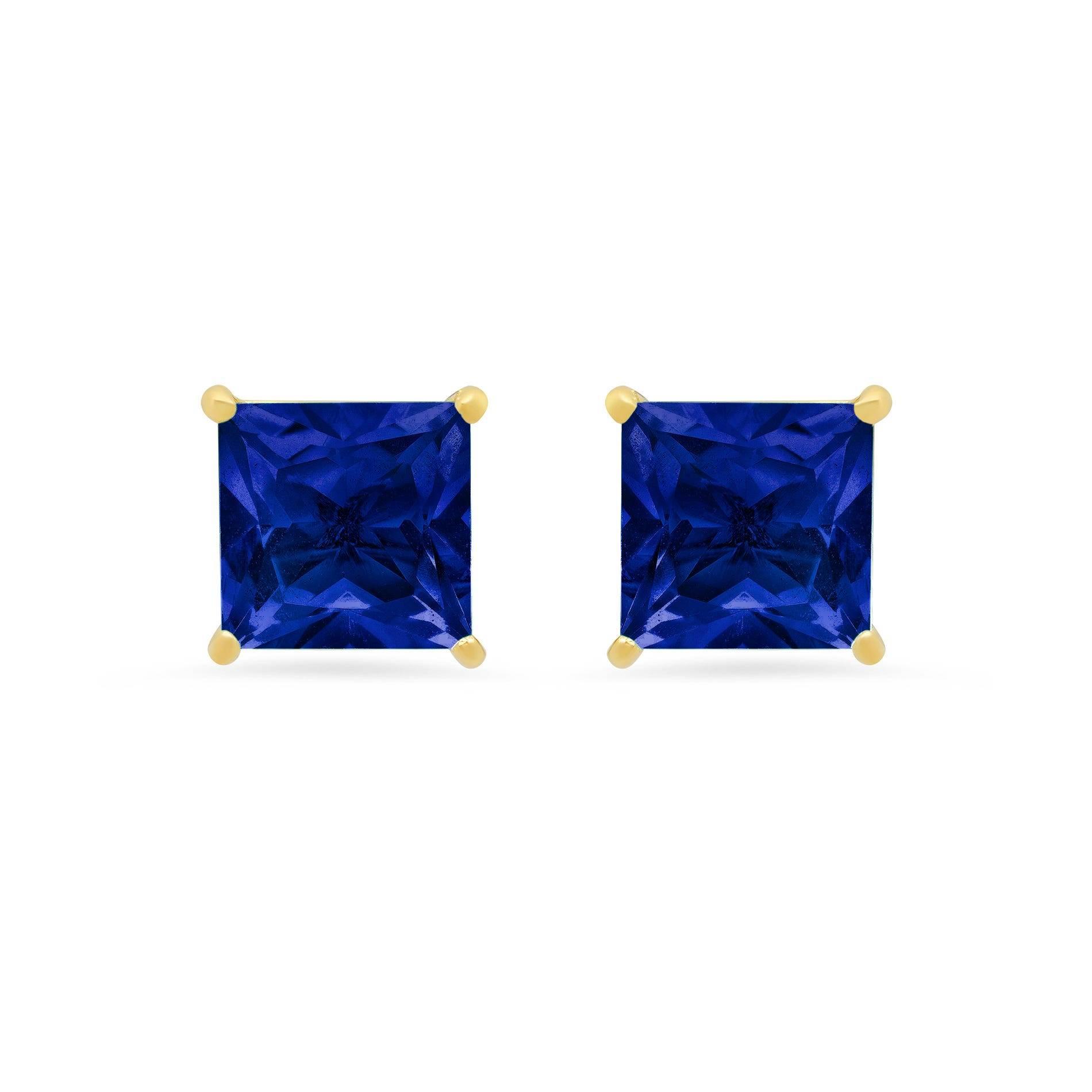 Princess-Cut Created Blue Sapphire Solitaire Stud Earrings in 14k Yellow Gold