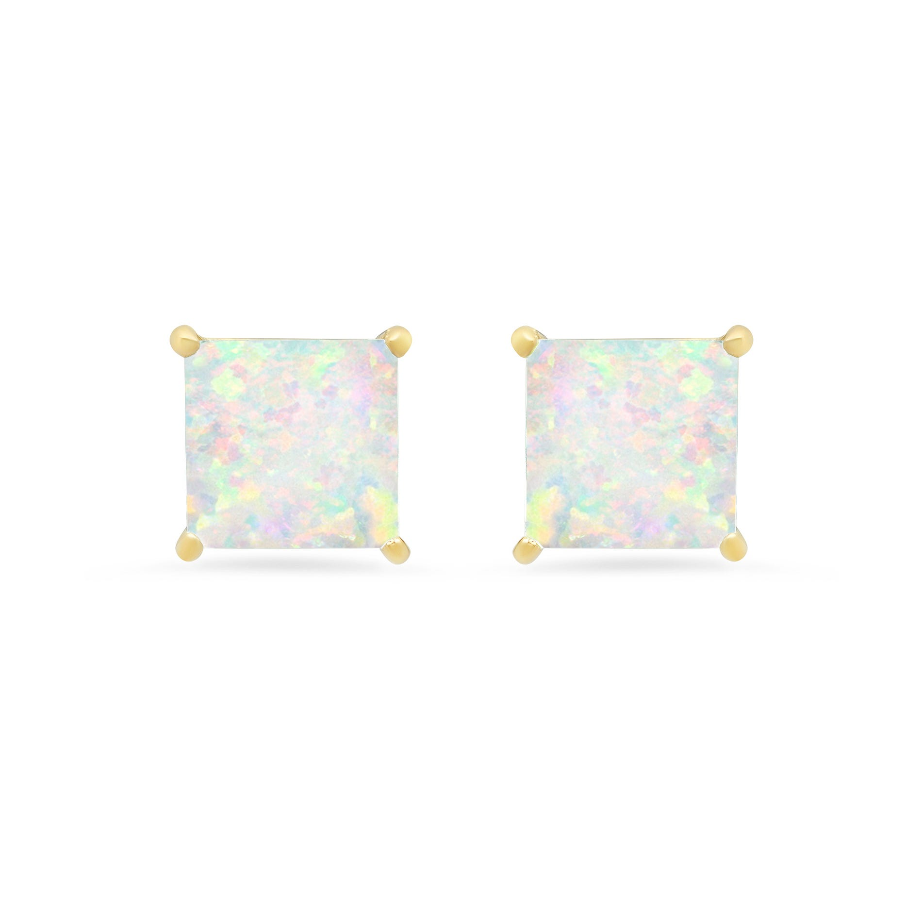 Princess-Cut Created Opal Solitaire Stud Earrings in 14k Yellow Gold
