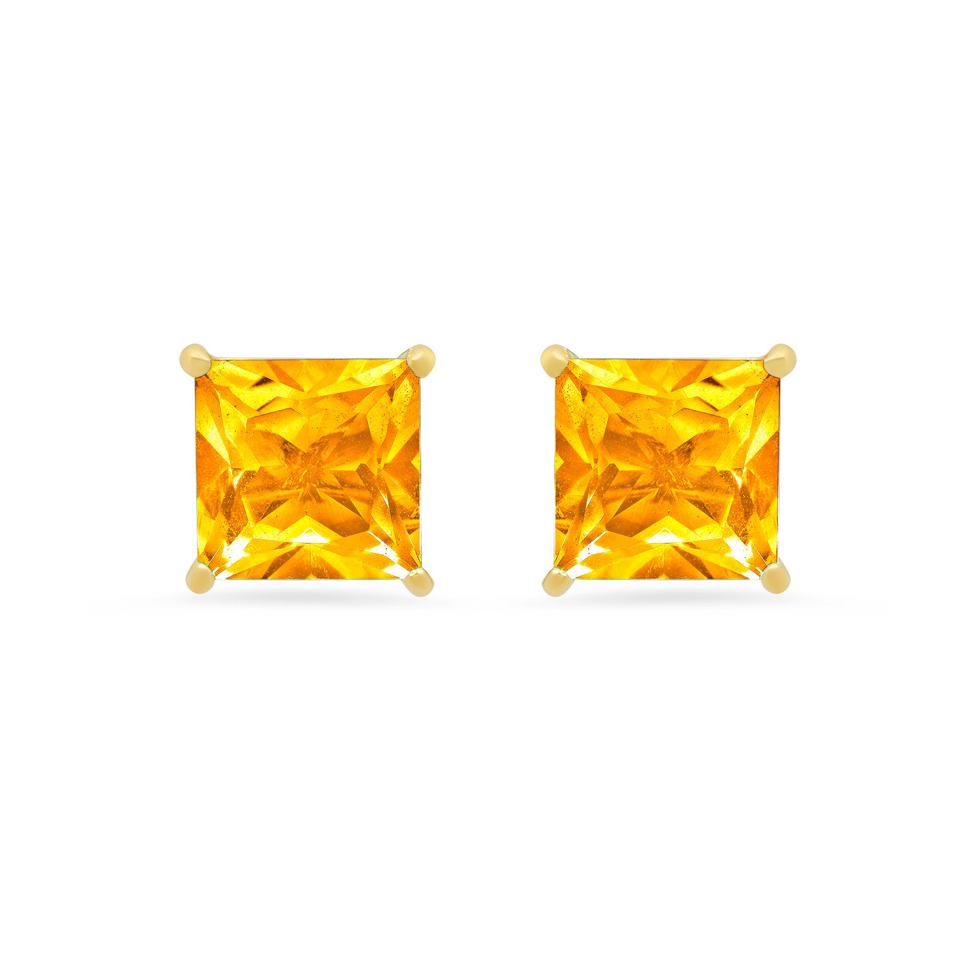 Princess-Cut Citrine Solitaire Stud Earrings in 14k Yellow Gold