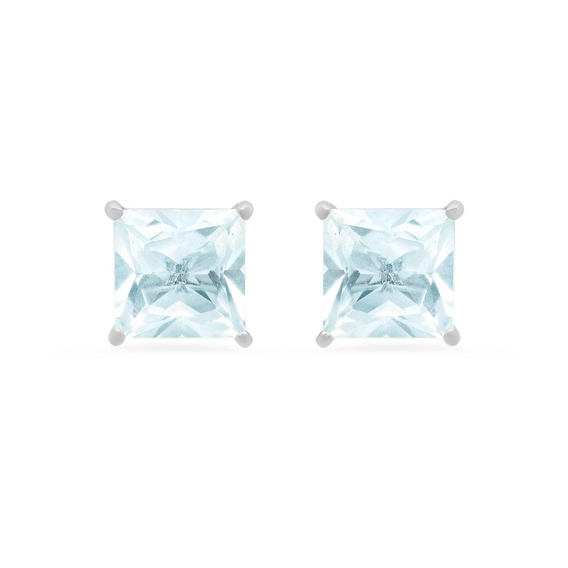 Princess-Cut Aquamarine Solitaire Stud Earrings in 14k White Gold