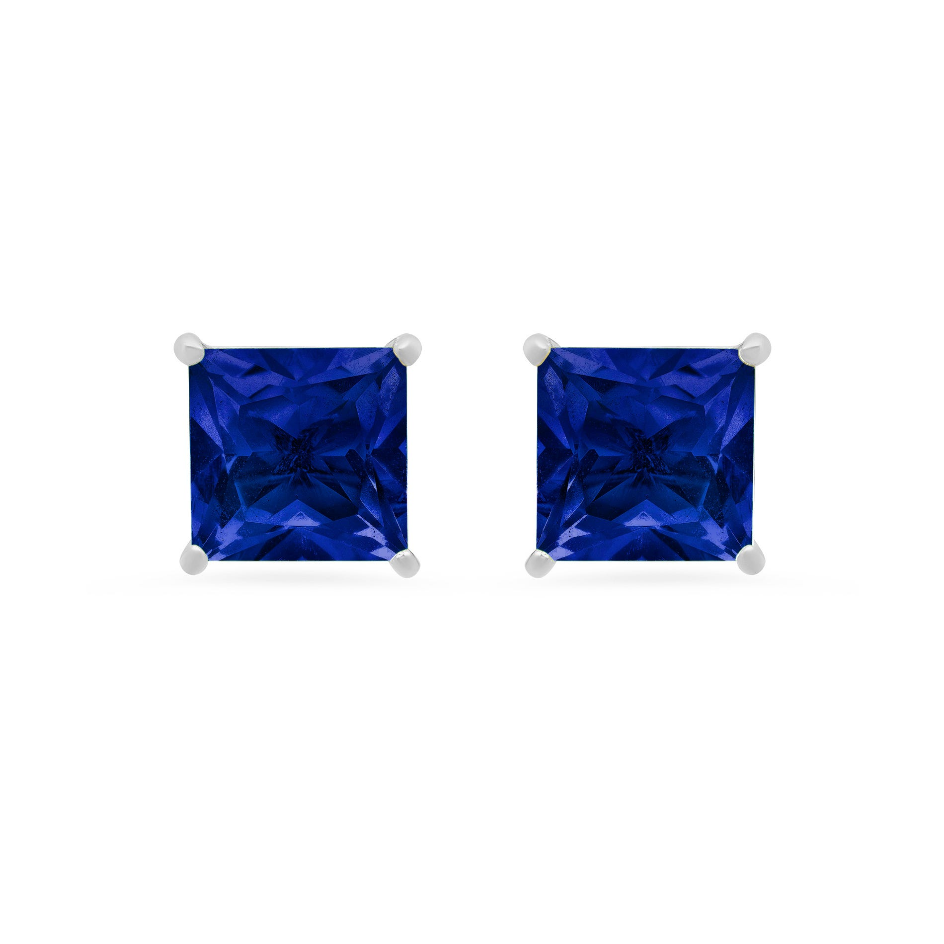 Princess-Cut Created Blue Sapphire Solitaire Stud Earrings in 14k White Gold