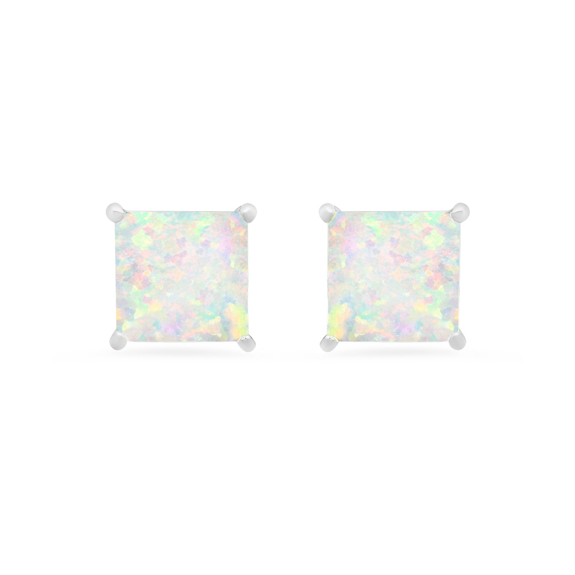 Princess-Cut Created Opal Solitaire Stud Earrings in 14k White Gold