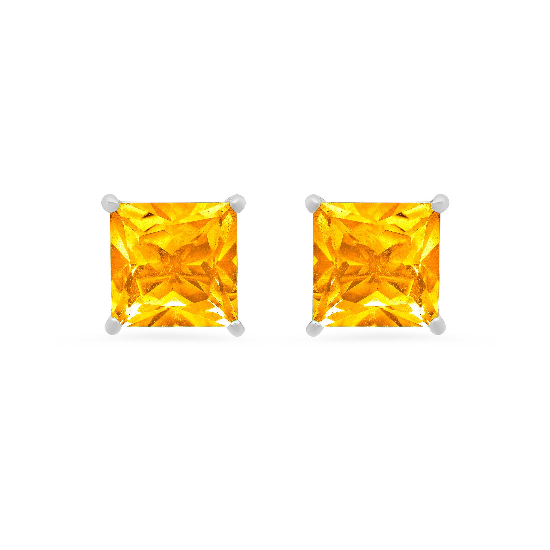 Princess-Cut Citrine Solitaire Stud Earrings in 14k White Gold