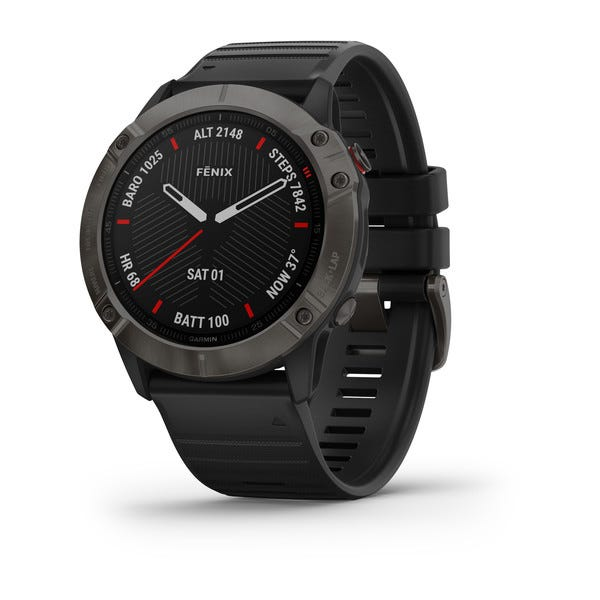 Garmin fēnix® 6X Sapphire - Carbon Gray DLC with Black Band Watch