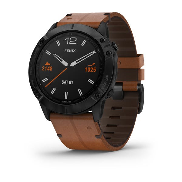 Garmin fēnix®6X Sapphire - Black DLC with Chestnut Leather Band Watch 010-02157-13