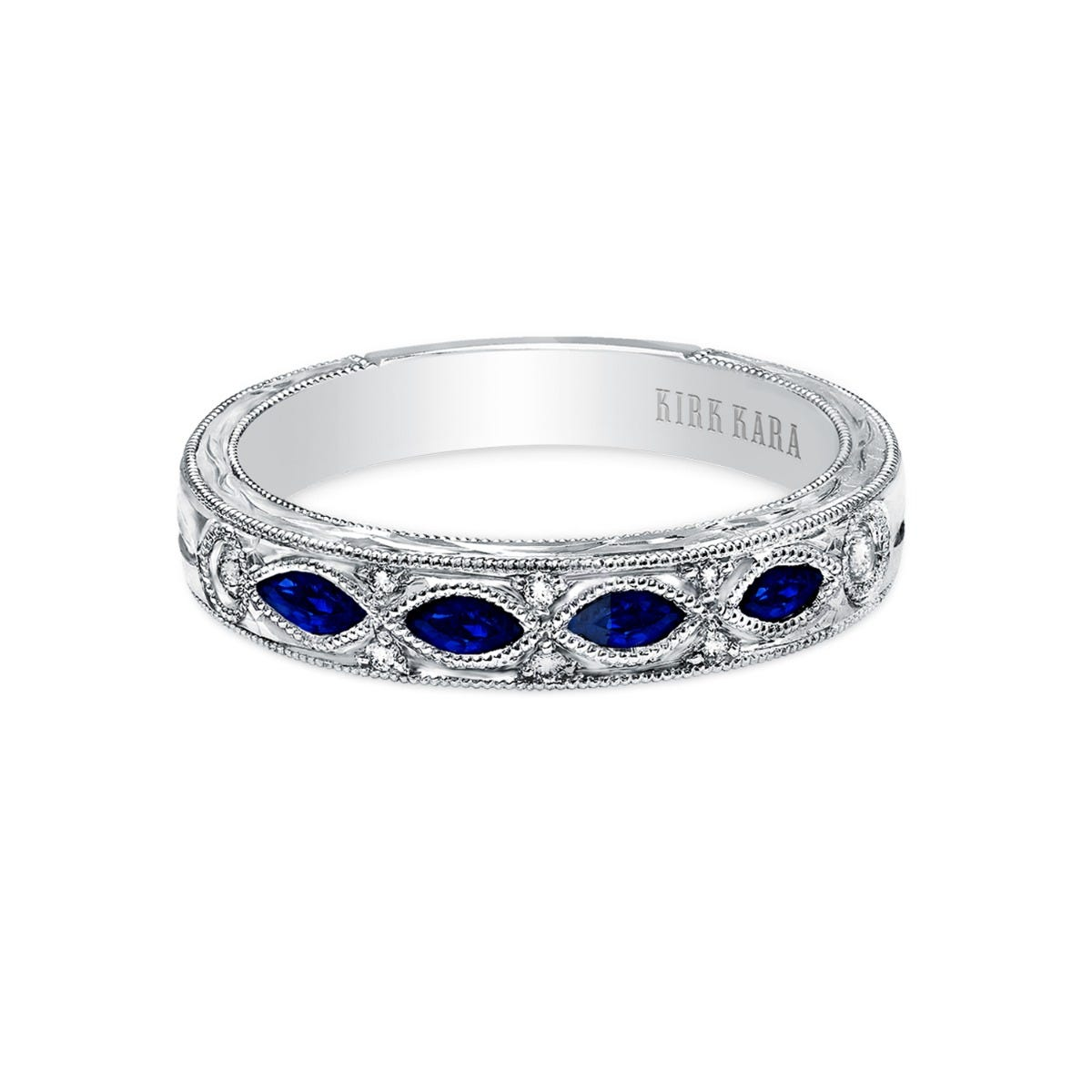Blue Sapphire and Marquise-Cut Diamond Botanical Band in 18k White Gold K1120SD-B