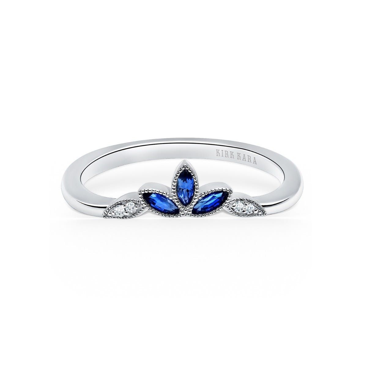 Blue Sapphire and Diamond Botanical Leaf Band in 14k White Gold