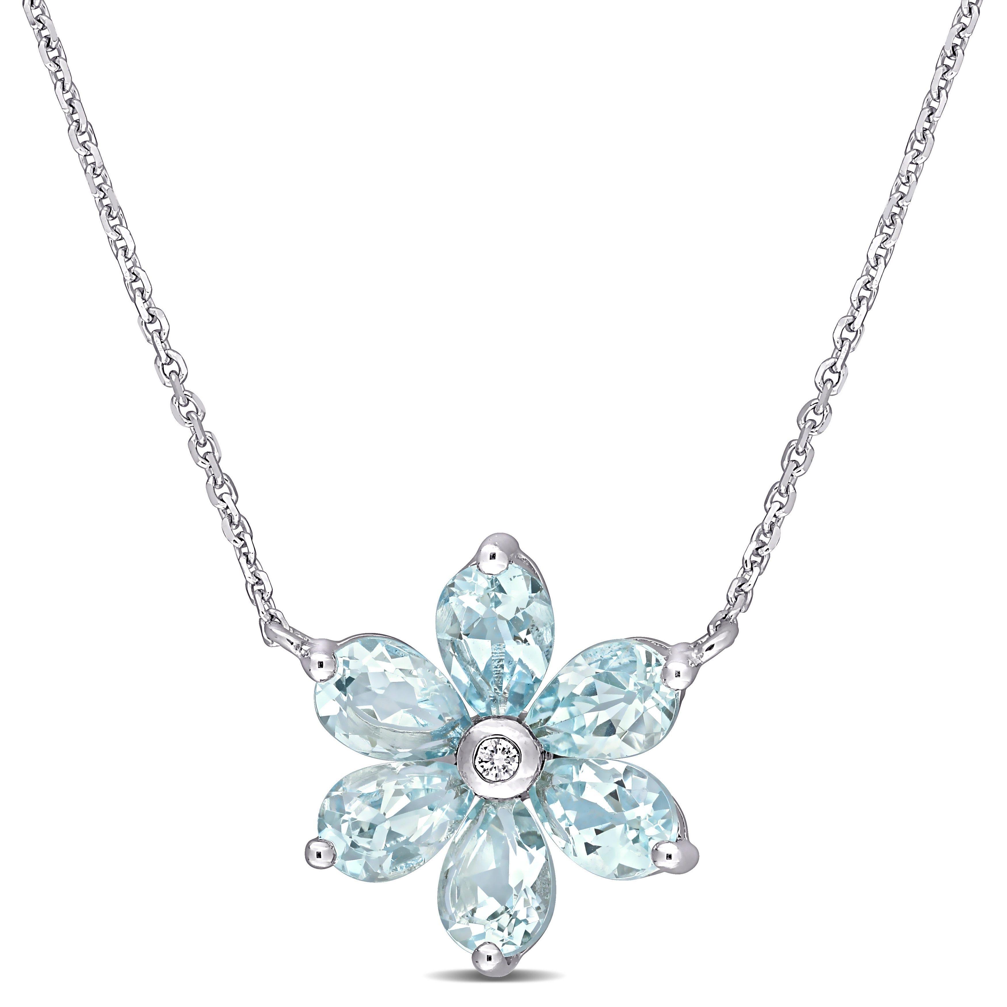 Aquamarine & Diamond Floral Pendant in 14k White Gold