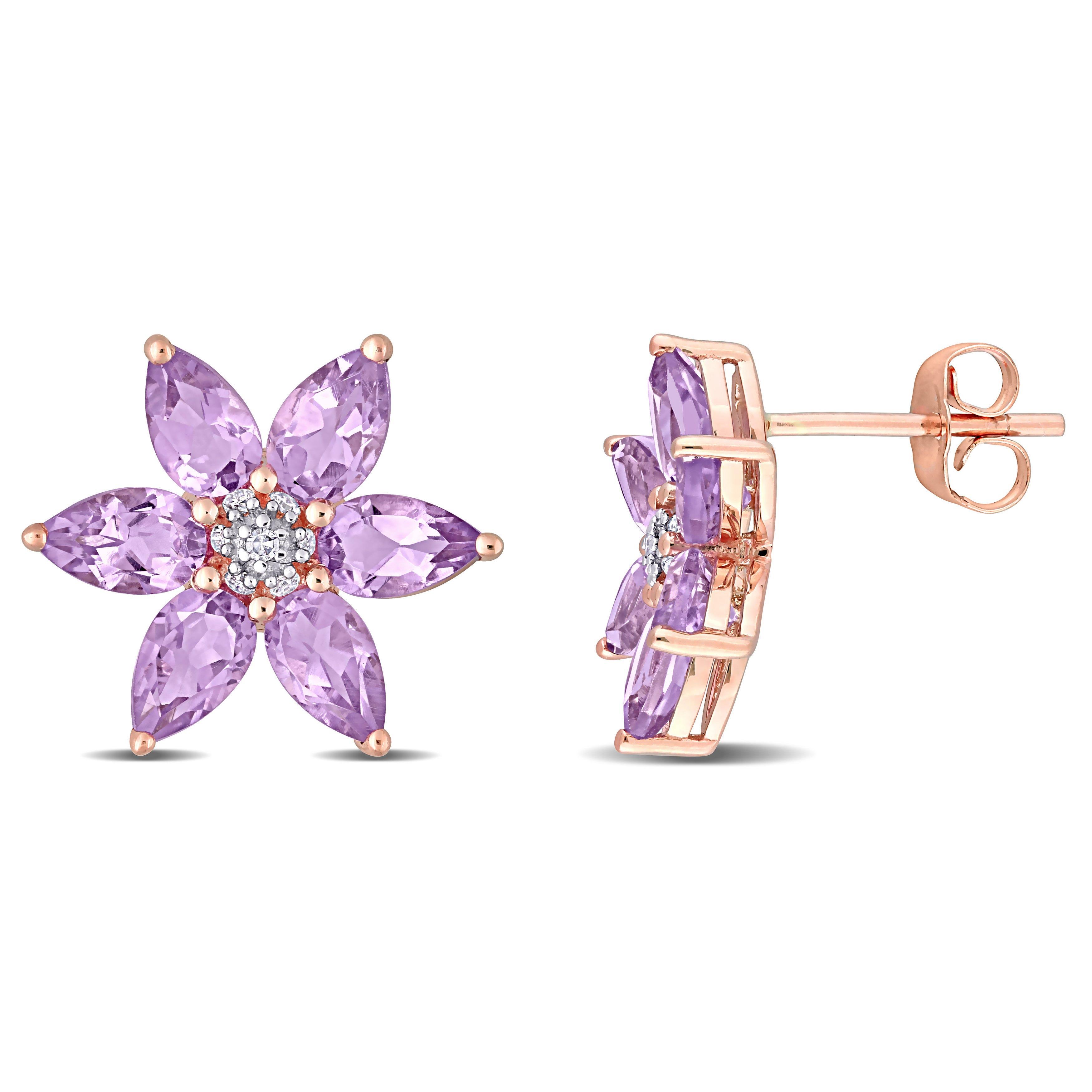 Amethyst & Diamond Floral Stud Earrings in 10k Rose Gold