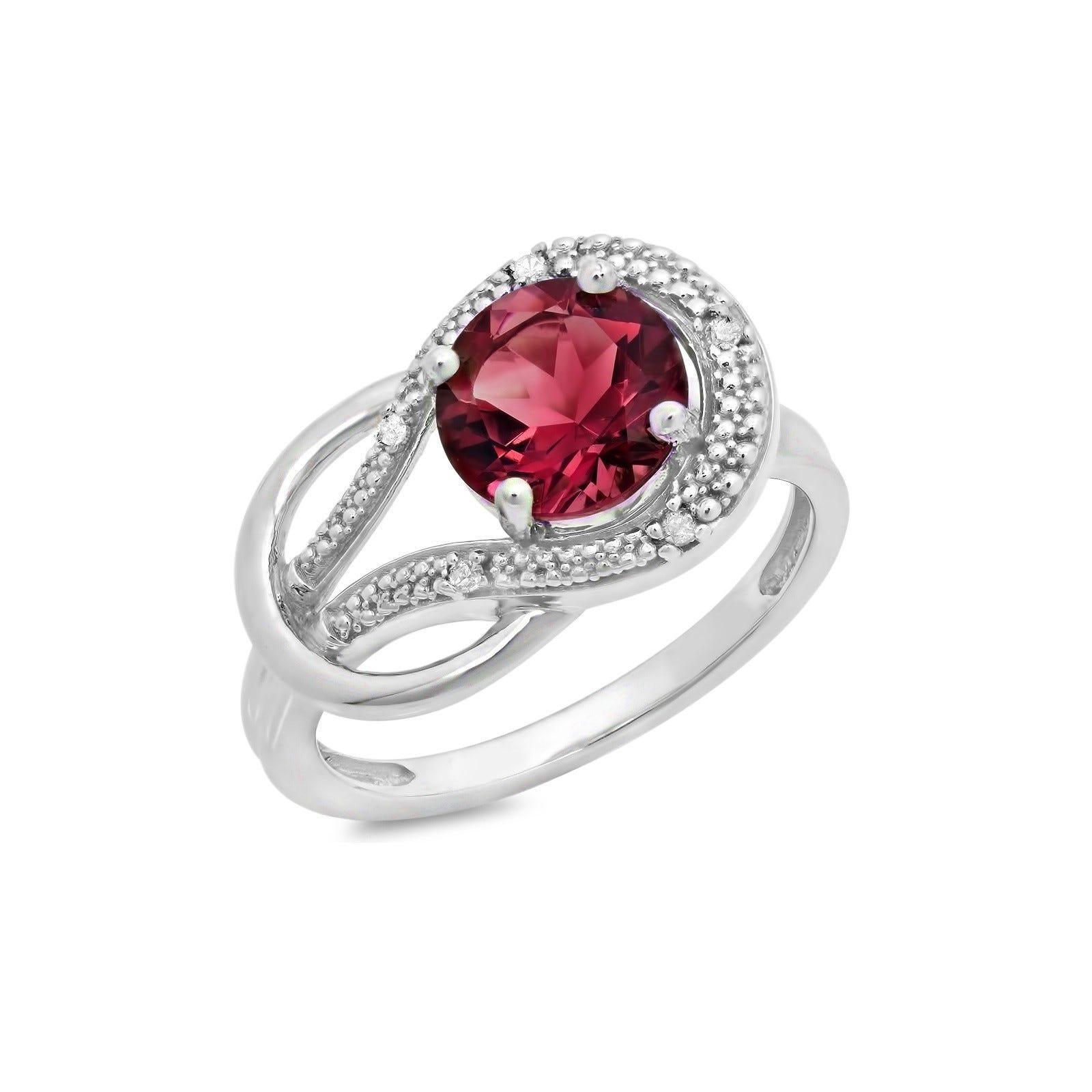 Garnet & Diamond Love Knot Ring in 10k White Gold