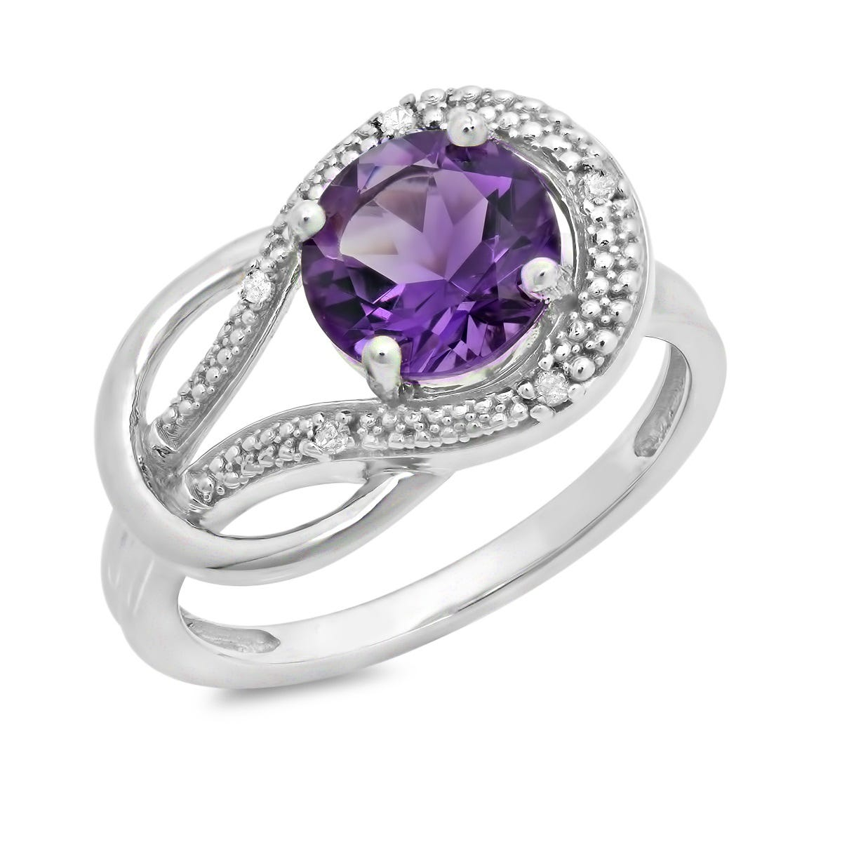 Amethyst & Diamond Love Knot Ring in 10k White Gold