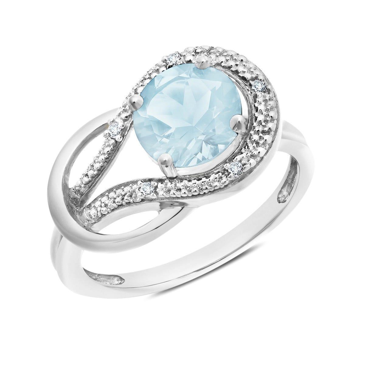 Aquamarine & Diamond Love Knot Ring in 10k White Gold