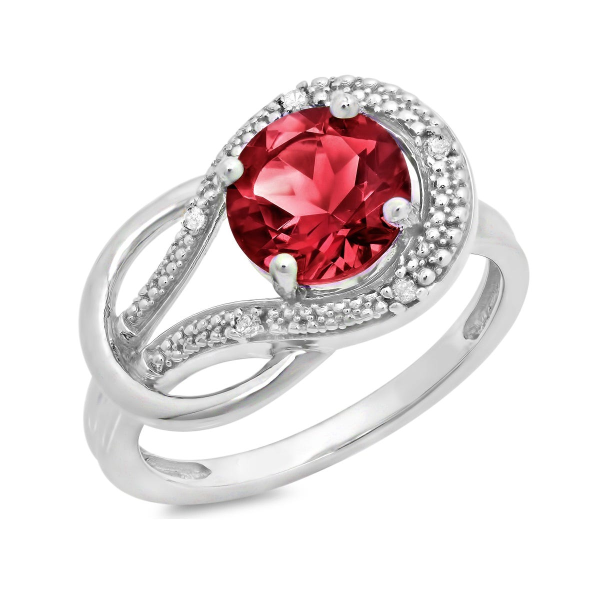 Created Ruby & Diamond Love Knot Ring in 10k White Gold
