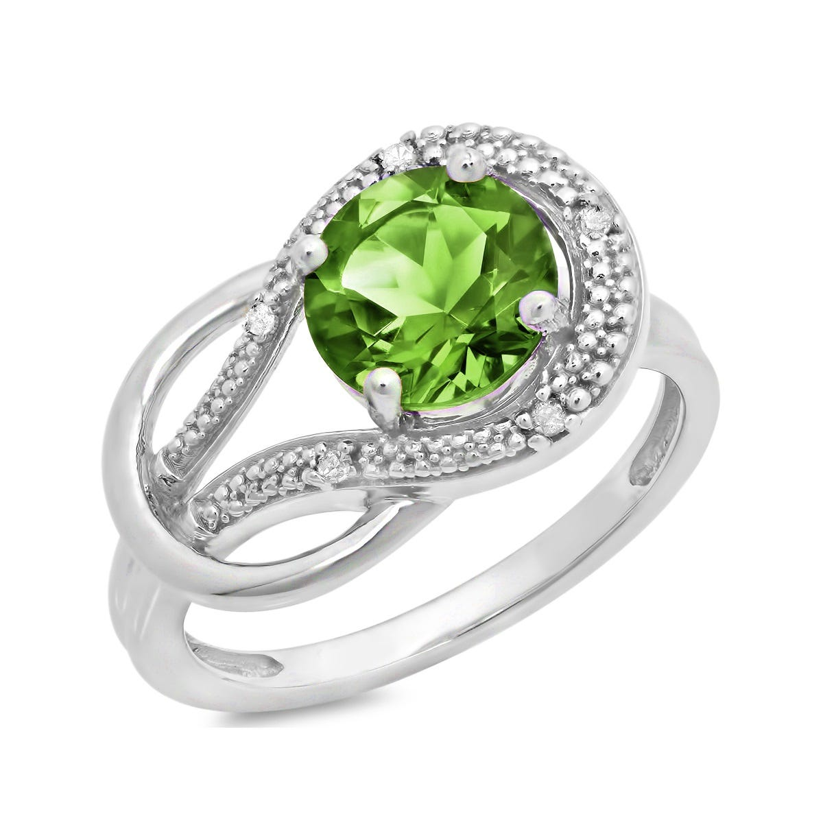 Peridot & Diamond Love Knot Ring in 10k White Gold