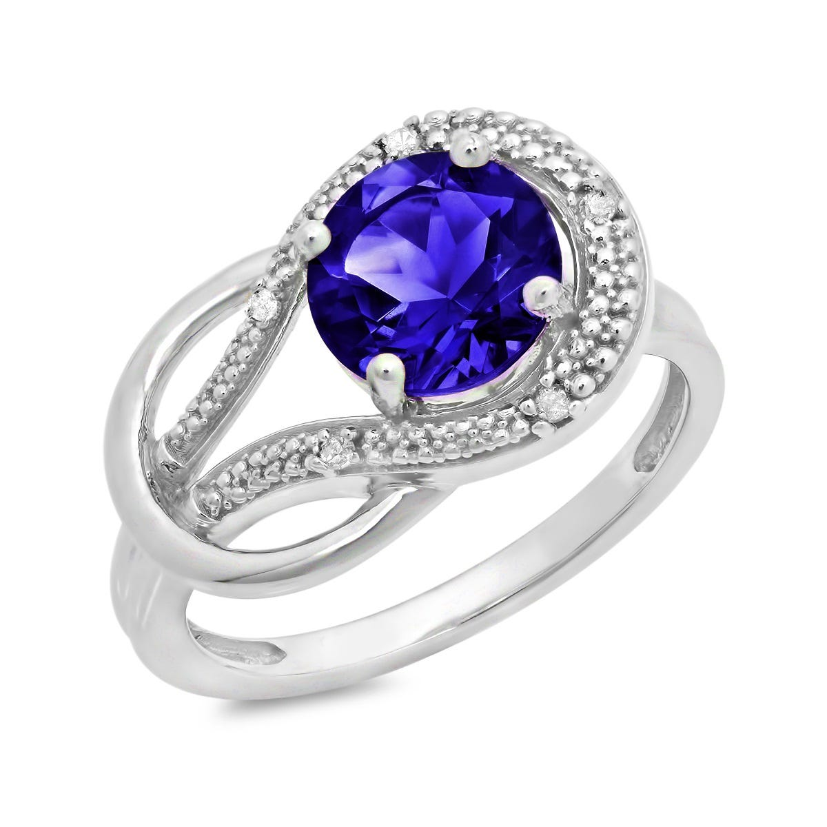 Created Blue Sapphire & Diamond Love Knot Ring in 10k White Gold