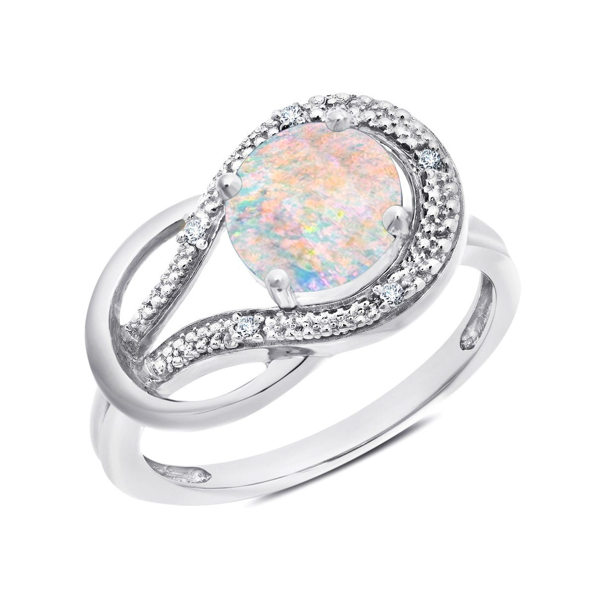 Created Opal & Diamond Love Knot Ring in 10k White Gold