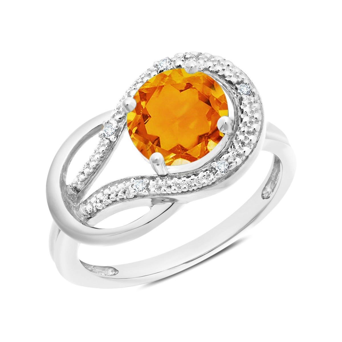 Citrine & Diamond Love Knot Ring in 10k White Gold