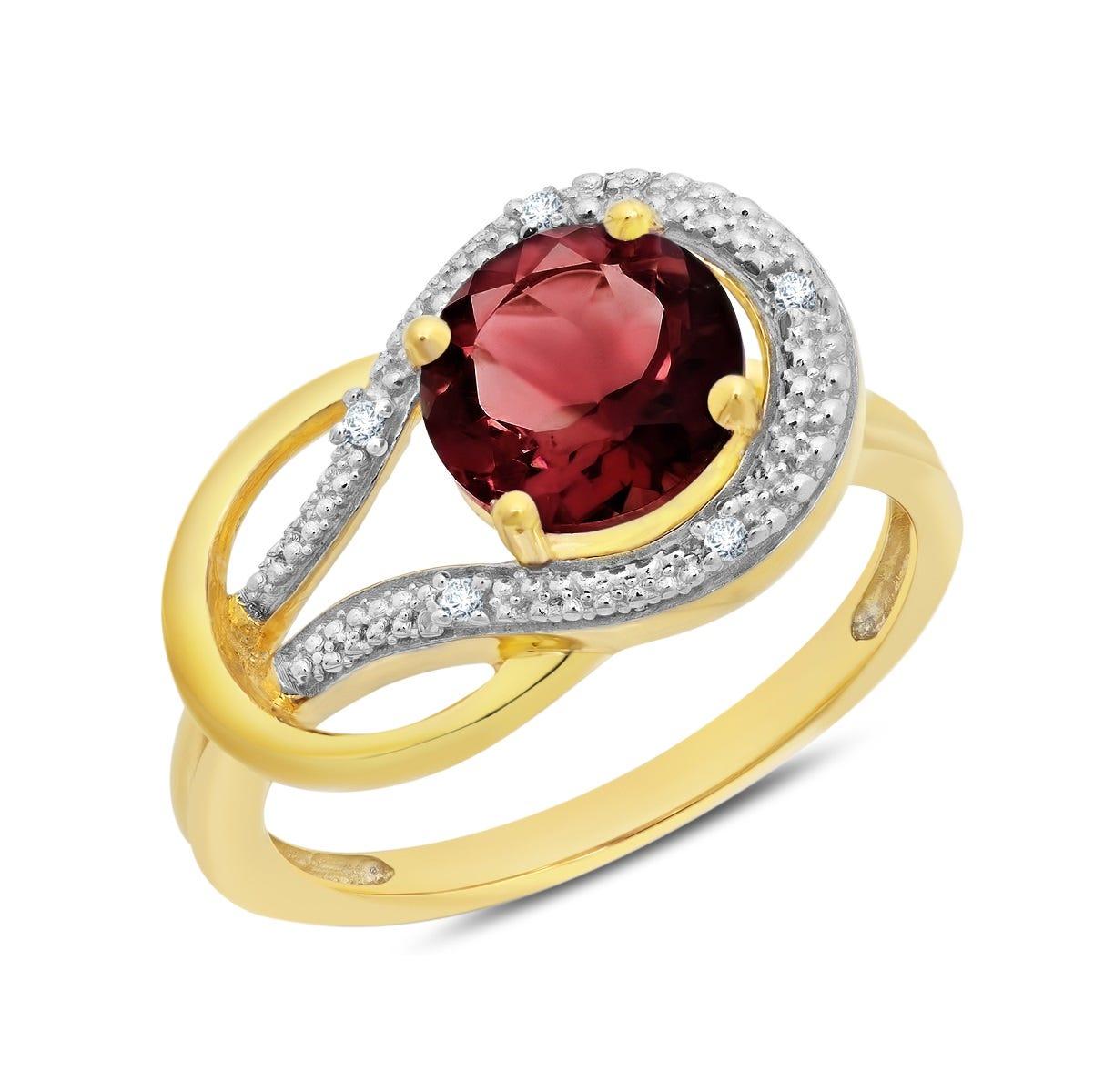 Garnet & Diamond Love Knot Ring in 10k Yellow Gold