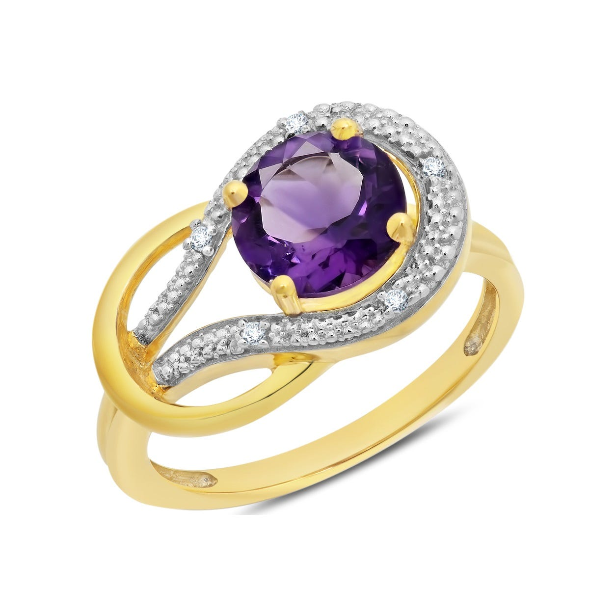 Amethyst & Diamond Love Knot Ring in 10k Yellow Gold