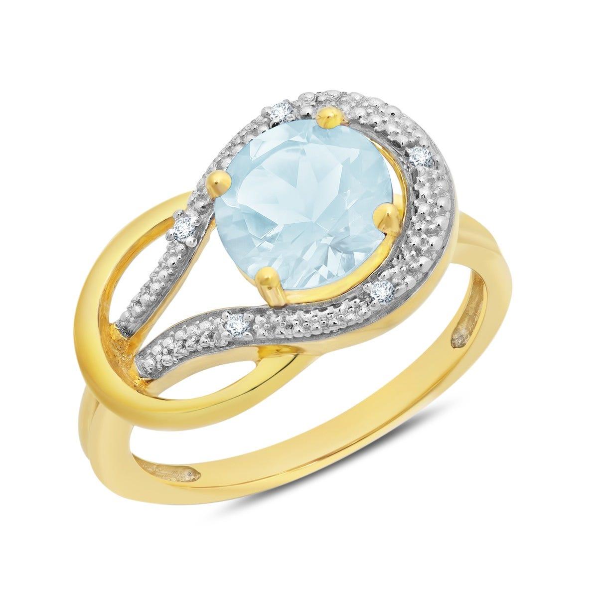 Aquamarine & Diamond Love Knot Ring in 10k Yellow Gold
