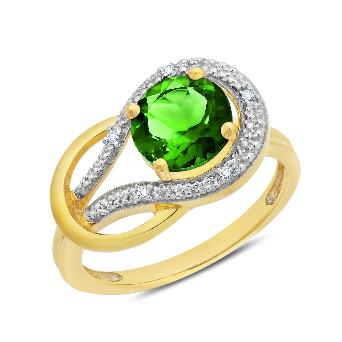 Created Emerald & Diamond Love Knot Ring in 10k Yellow Gold