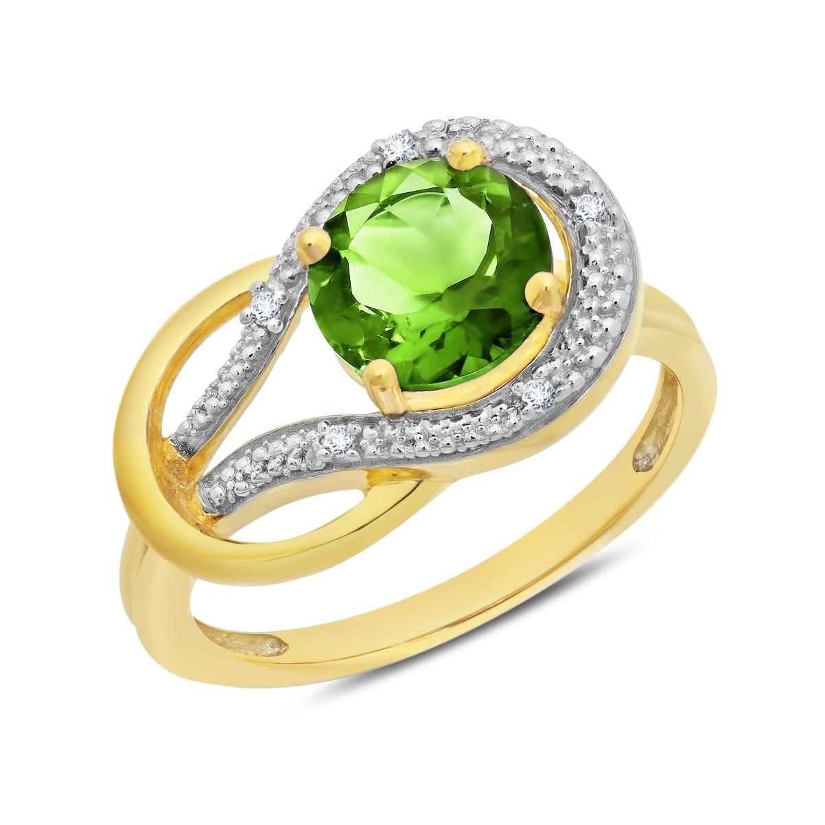 Peridot & Diamond Love Knot Ring in 10k Yellow Gold