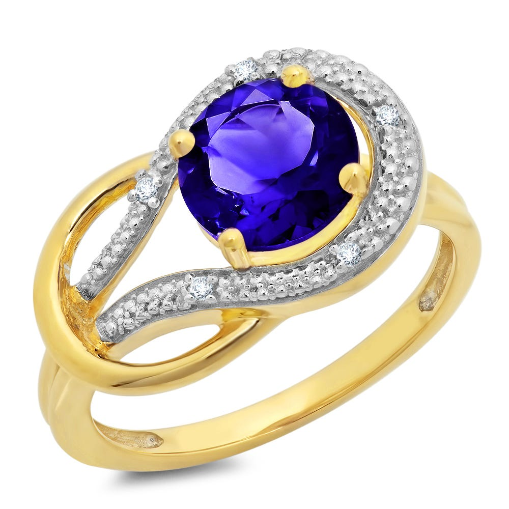 Created Blue Sapphire & Diamond Love Knot Ring in 10k Yellow Gold