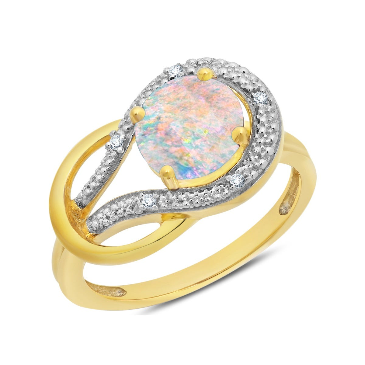 Created Opal & Diamond Love Knot Ring in 10k Yellow Gold