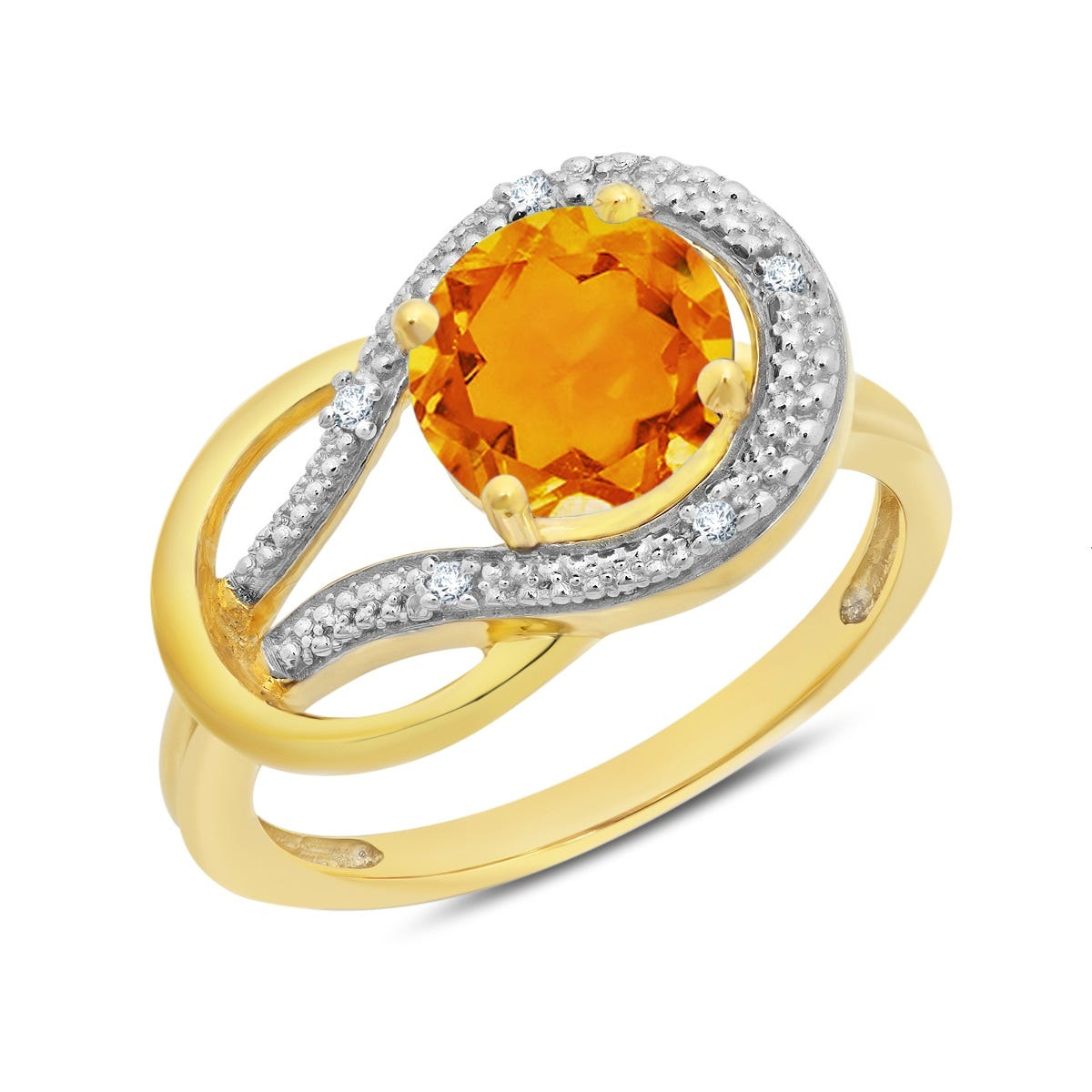 Citrine & Diamond Love Knot Ring in 10k Yellow Gold