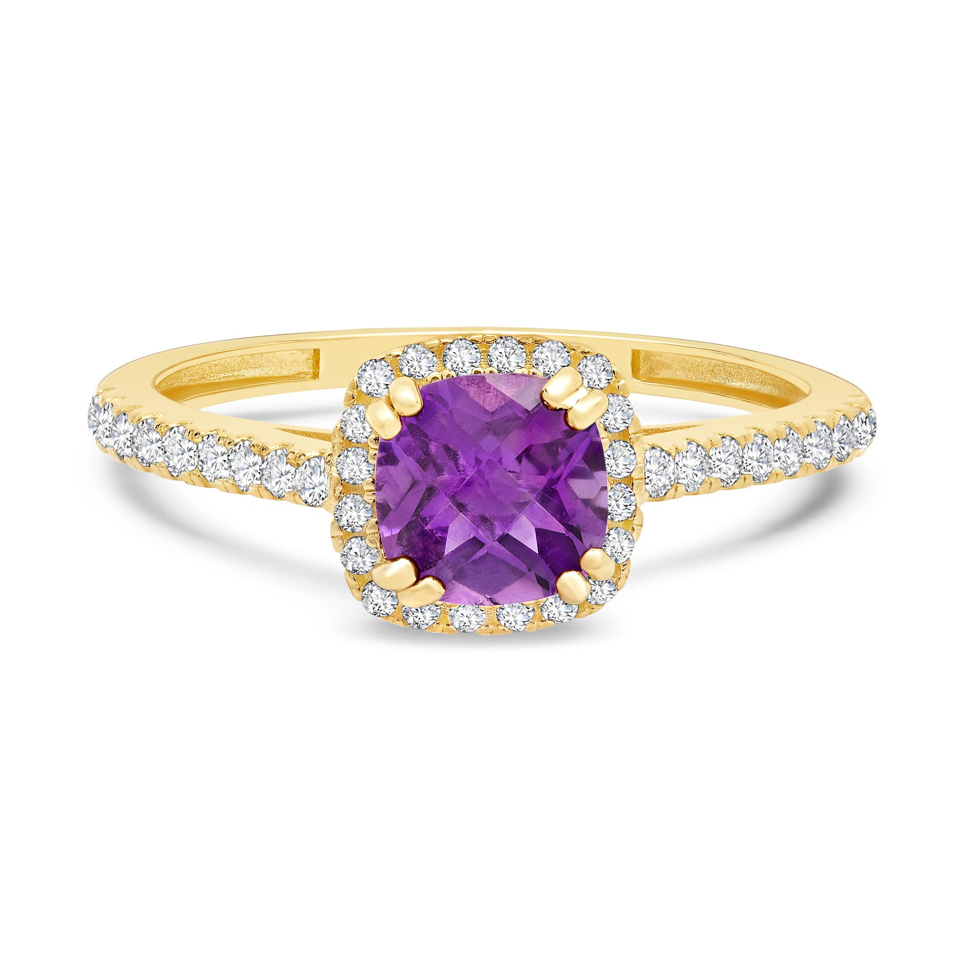 Cushion-Cut Amethyst & Created White Sapphire Ring in 10k Yellow Gold
