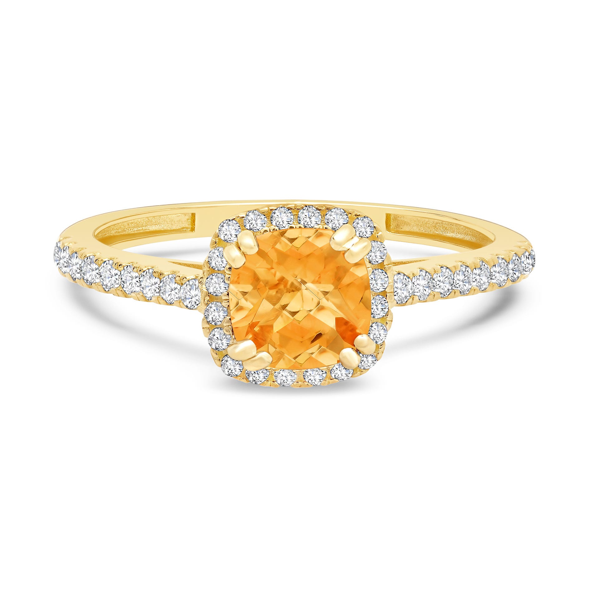 Cushion-Cut Citrine & Created White Sapphire Ring in 10k Yellow Gold
