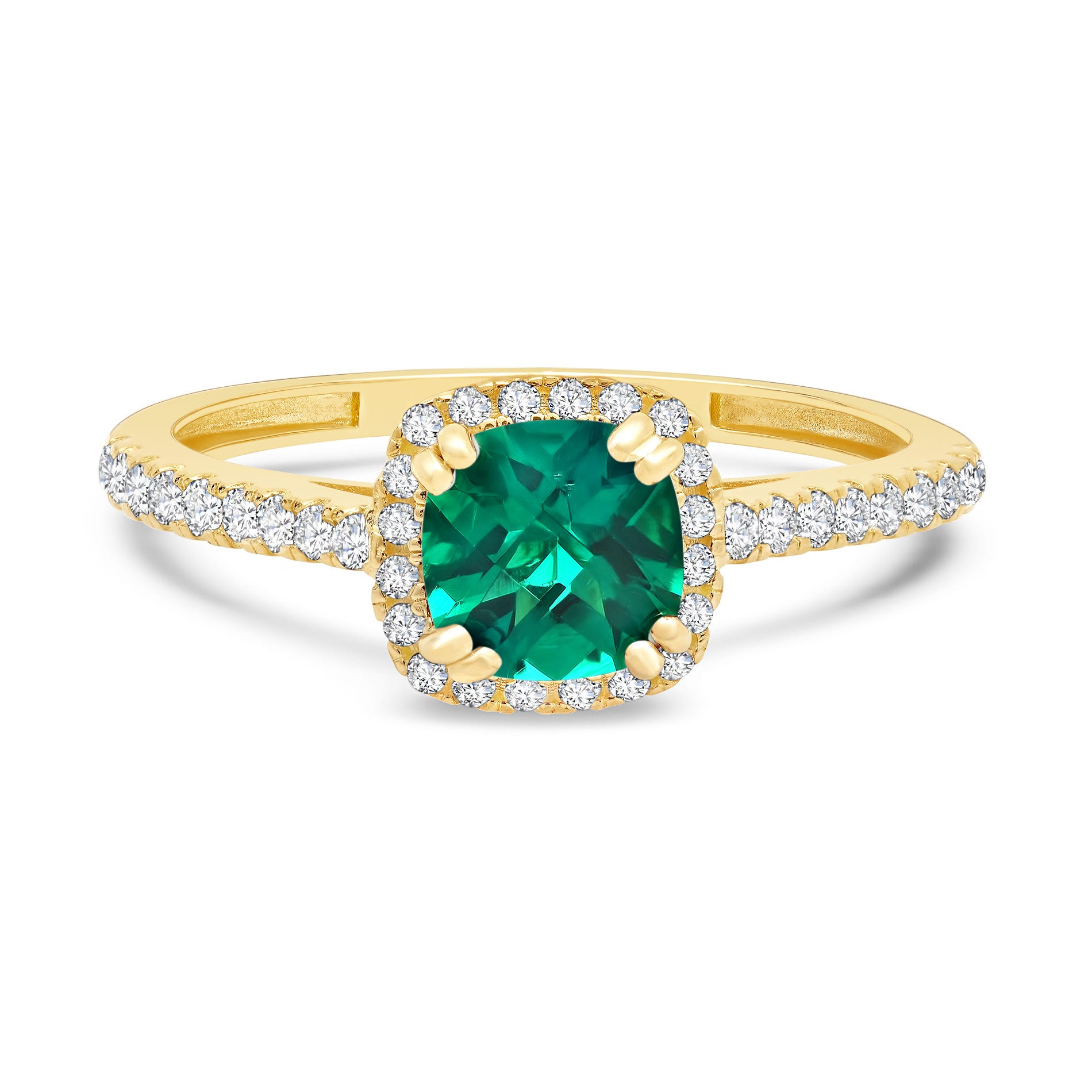 Cushion-Cut Created Emerald & Created White Sapphire Ring in 10k Yellow Gold