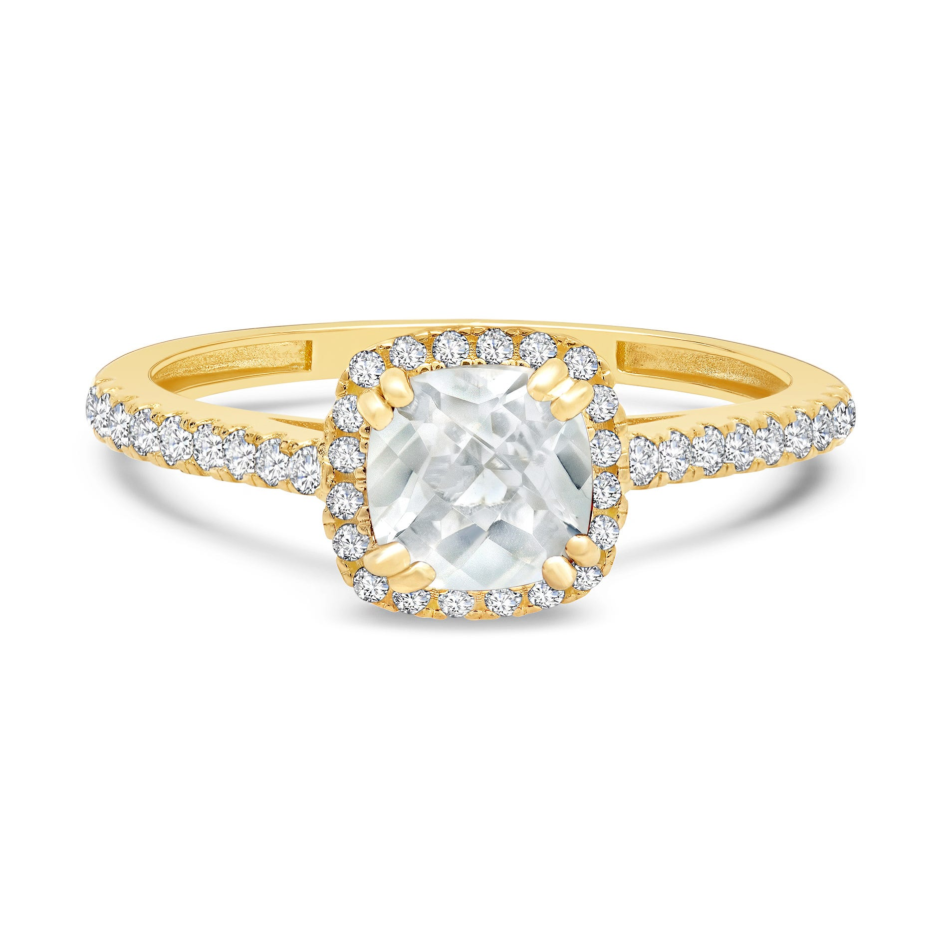 Cushion-Cut Created White Sapphire Ring in 10k Yellow Gold