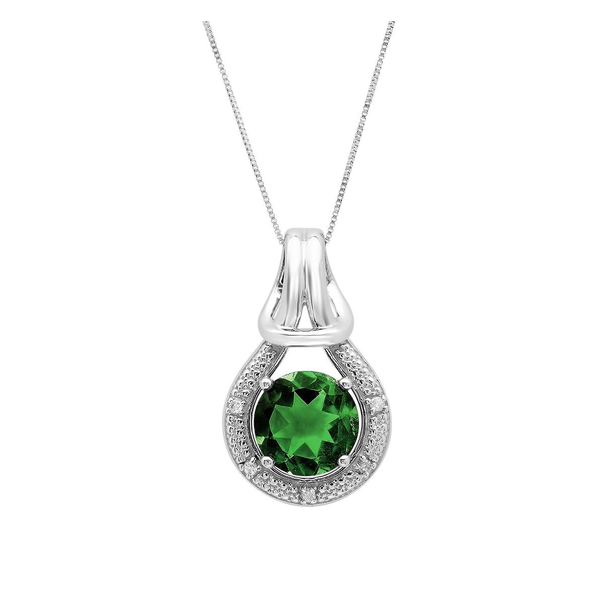 Created Emerald & Diamond Love Knot Pendant in 10k White Gold