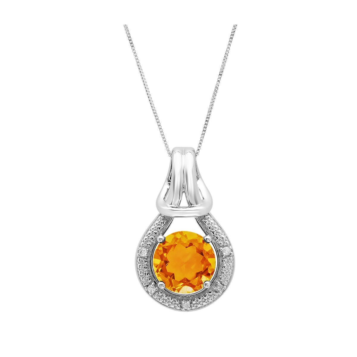Citrine & Diamond Love Knot Pendant in 10k White Gold