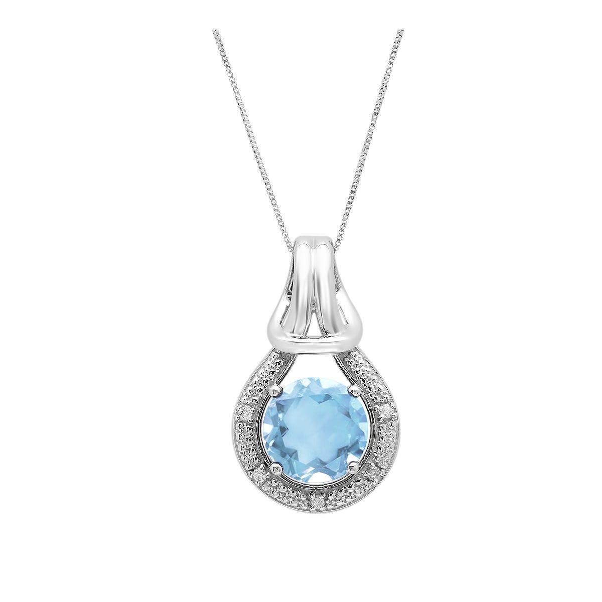 Sky Blue Topaz  & Diamond Love Knot Pendant in 10k White Gold
